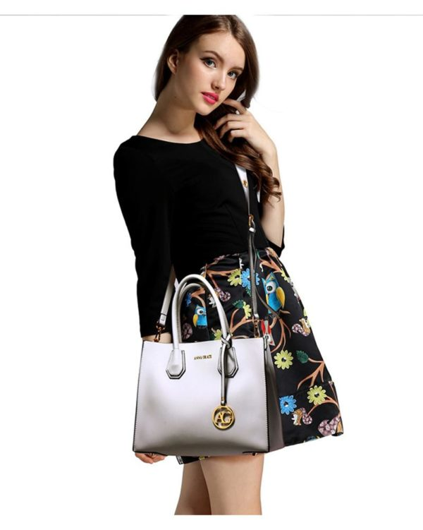 ag00559 – grab tote handbag with gold metal work Grey 5