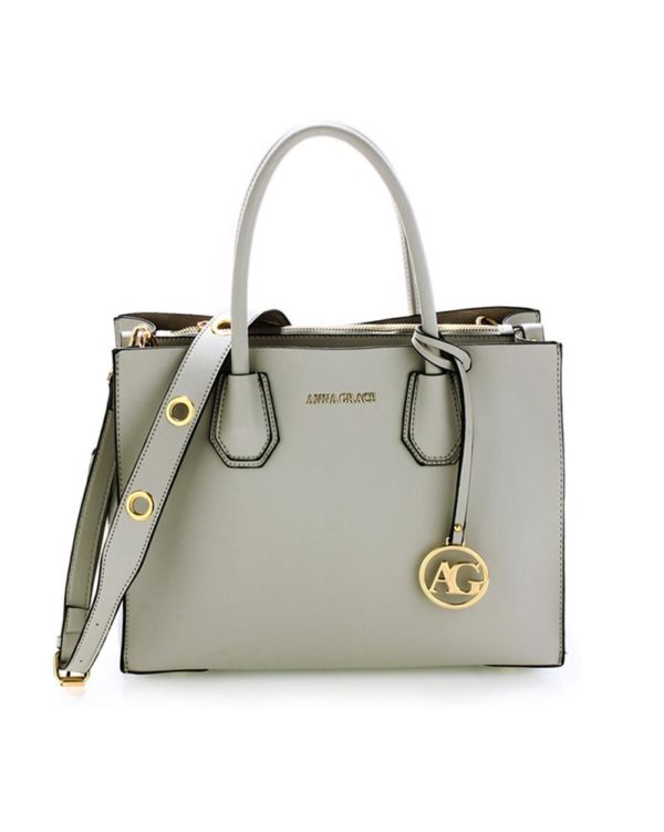 ag00559 – grab tote handbag with gold metal work Grey