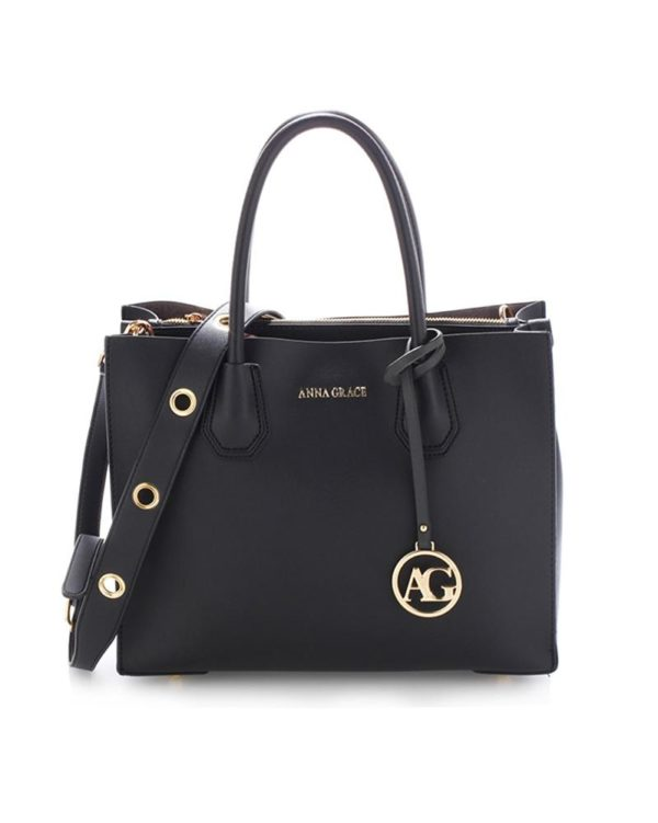 ag00559 – grab tote handbag with gold metal work black