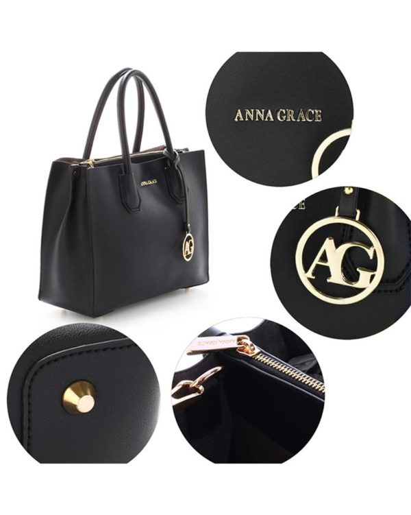 ag00559 – grab tote handbag with gold metal work black4