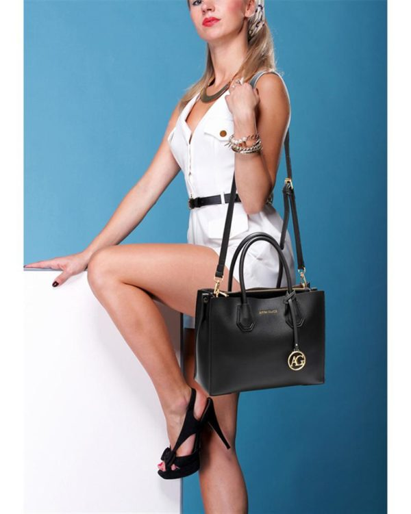 ag00559 – grab tote handbag with gold metal work black5