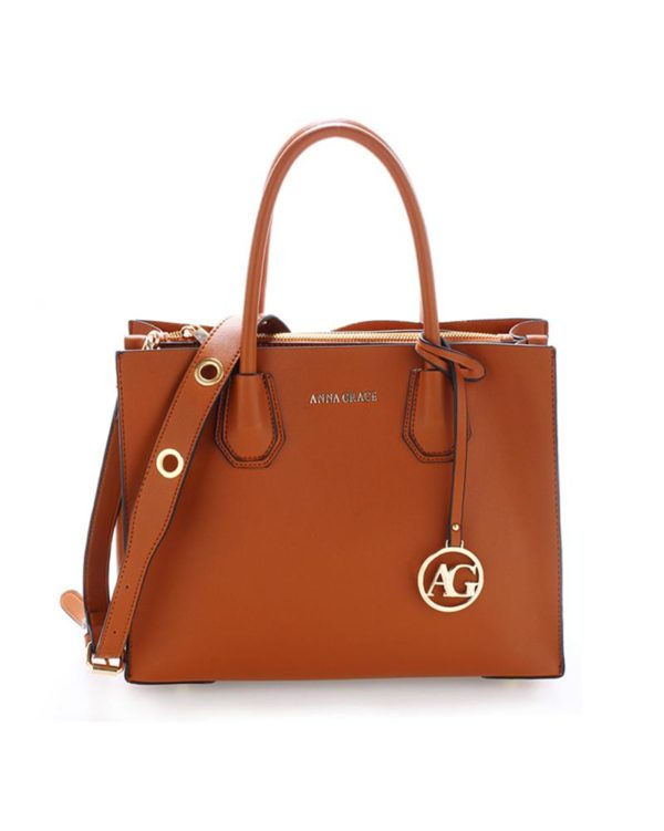 ag00559 – grab tote handbag with gold metal work brown