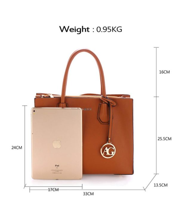 ag00559 – grab tote handbag with gold metal work brown1