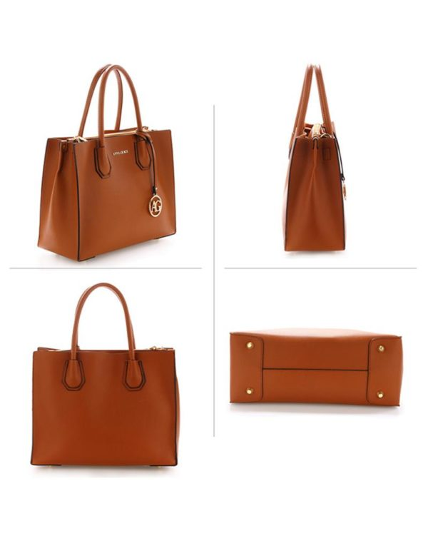 ag00559 – grab tote handbag with gold metal work brown2