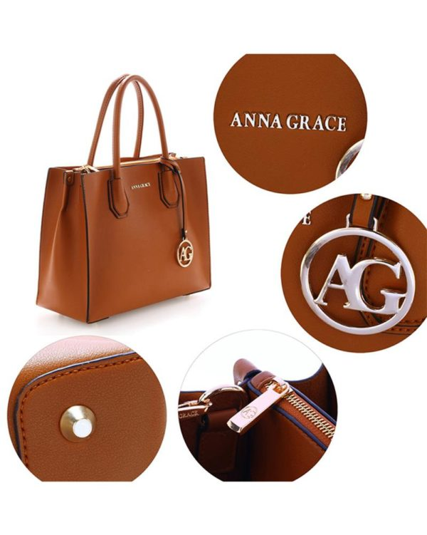 ag00559 – grab tote handbag with gold metal work brown4