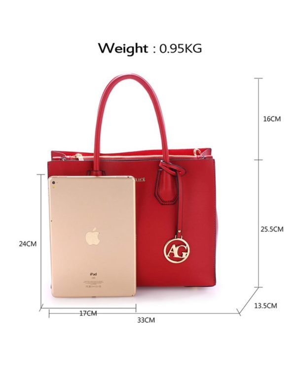 ag00559 – grab tote handbag with gold metal work burgundy1