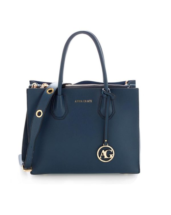 ag00559 – grab tote handbag with gold metal work navy