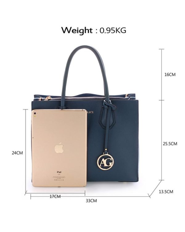 ag00559 – grab tote handbag with gold metal work navy1