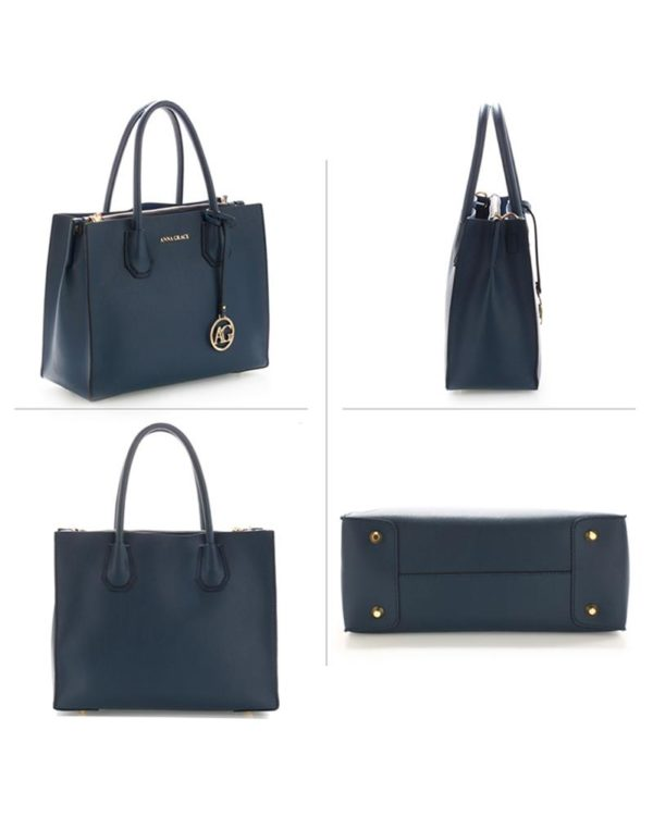 ag00559 – grab tote handbag with gold metal work navy2