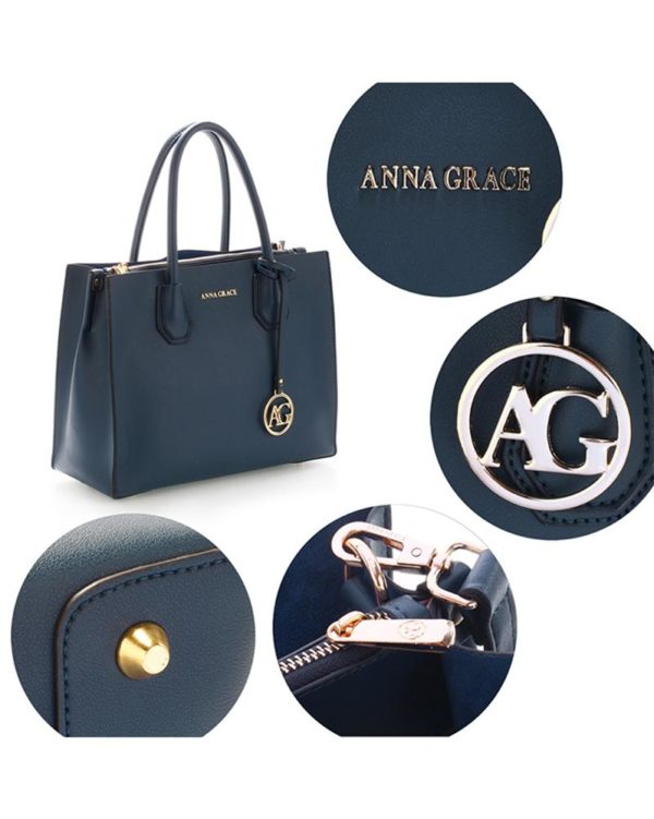 ag00559 – grab tote handbag with gold metal work navy4