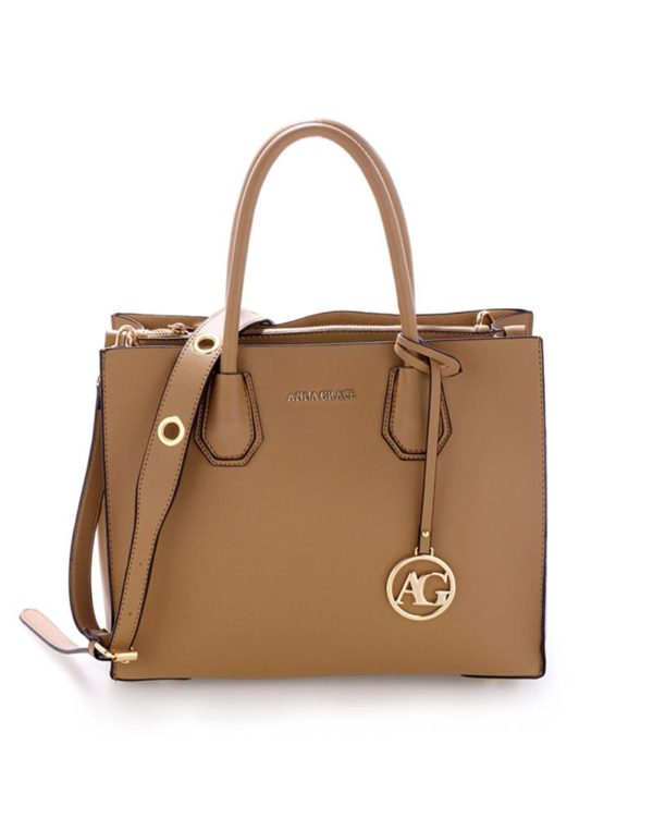 ag00559 – grab tote handbag with gold metal work nude