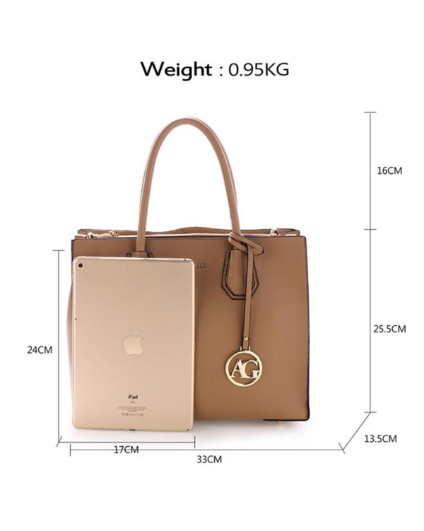 ag00559 – grab tote handbag with gold metal work nude1
