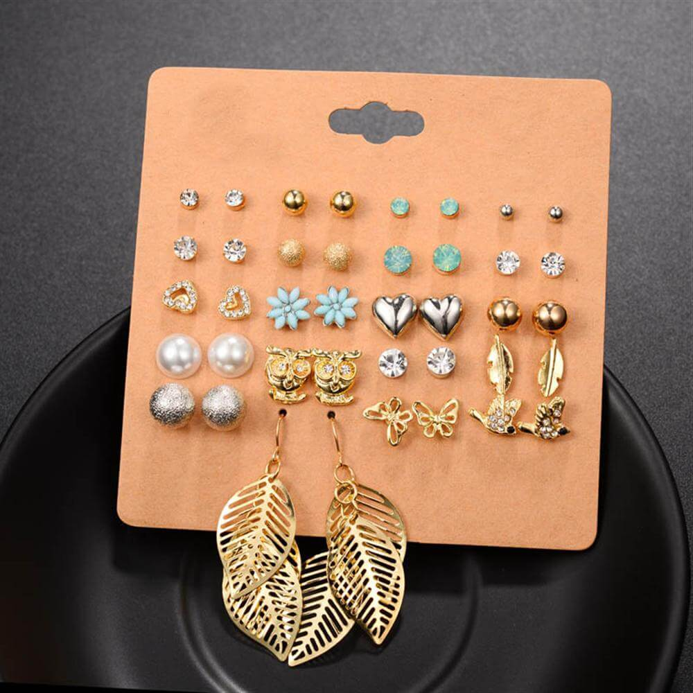 20 pair stud earrings set rhinestone