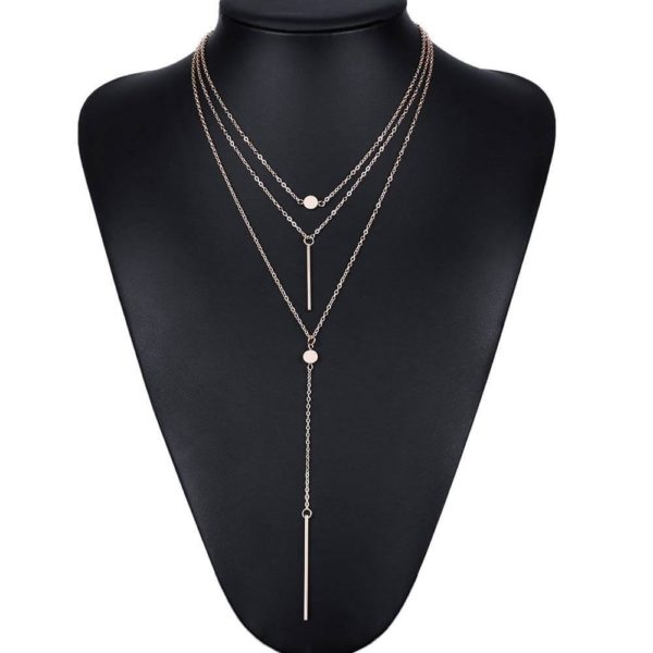 3 Layer Long Chain Necklace In Gold Color AN49 -2