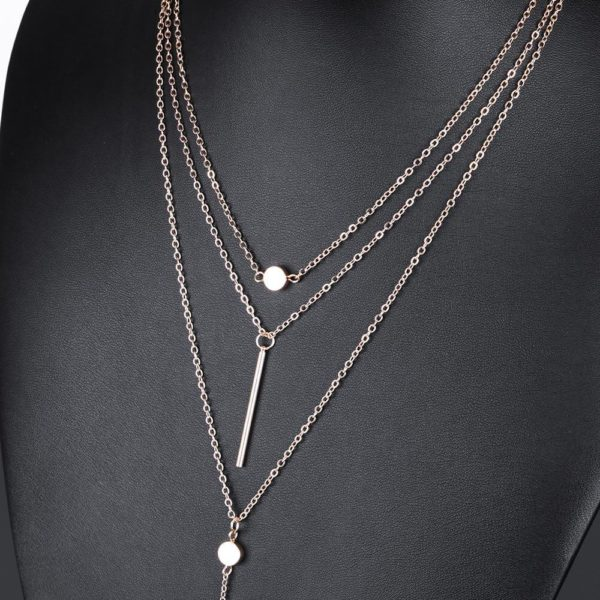 3 Layer Long Chain Necklace In Gold Color AN49