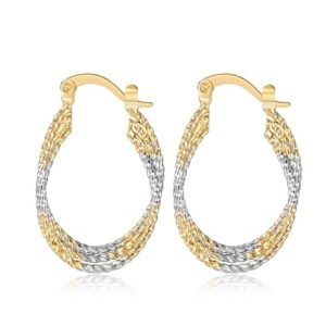 Silver Gold Twisted Hook Earring For Women