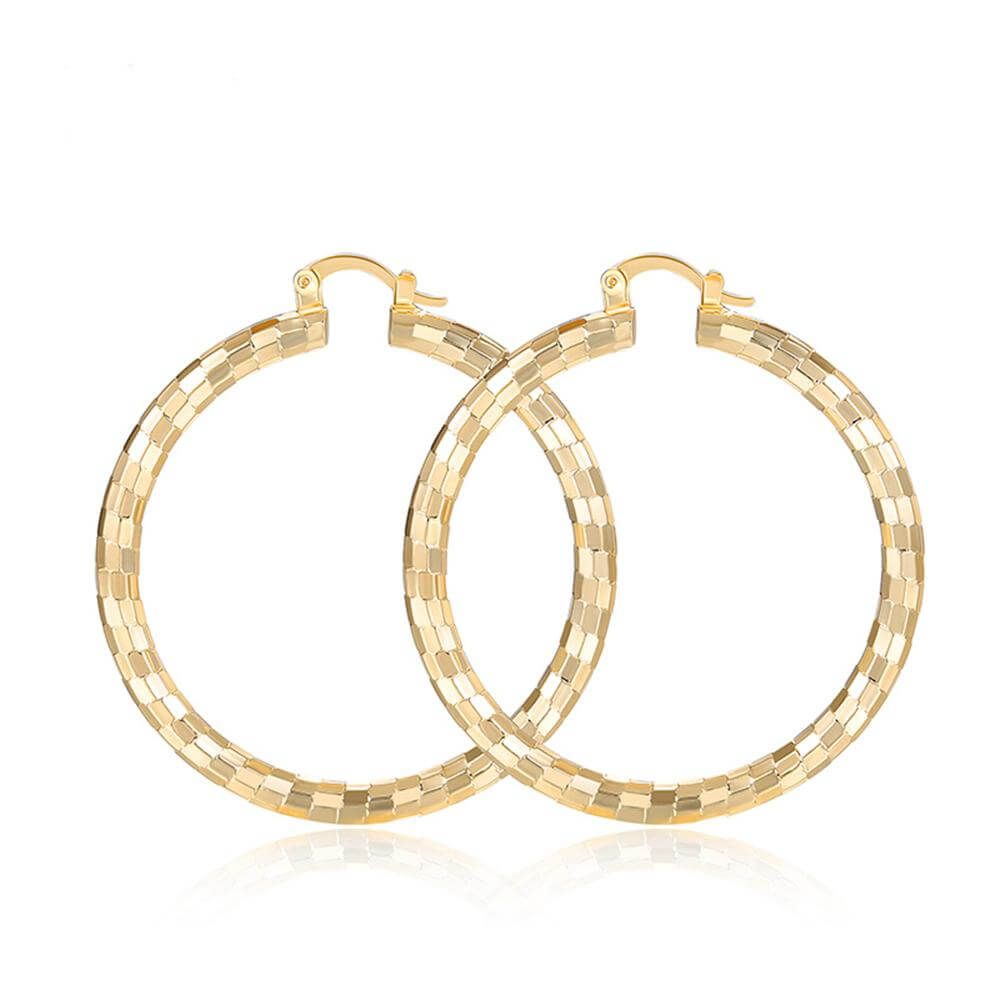 gold big round hoop earring for women