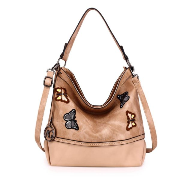 AG00556 – beige Butterfly Hobo Bag With black Metal Work