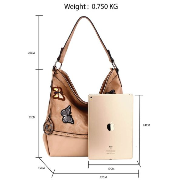 AG00556 – beige Butterfly Hobo Bag With black Metal Work2_