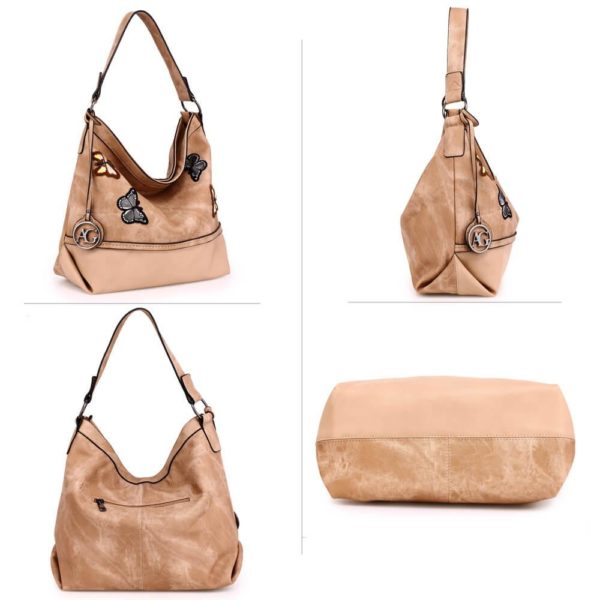 AG00556 – beige Butterfly Hobo Bag With black Metal Work_3_