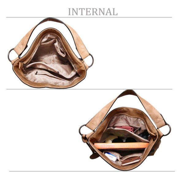 AG00556 – beige Butterfly Hobo Bag With black Metal Work_4_
