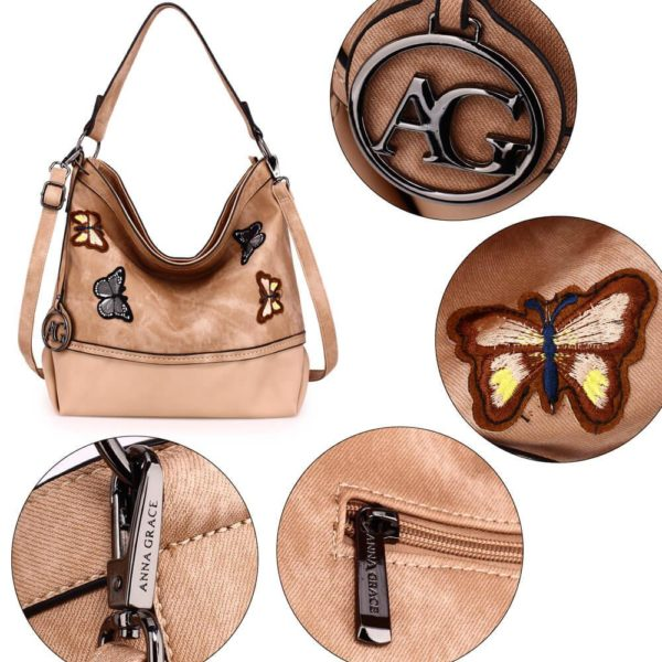 AG00556 – beige Butterfly Hobo Bag With black Metal Work_5_