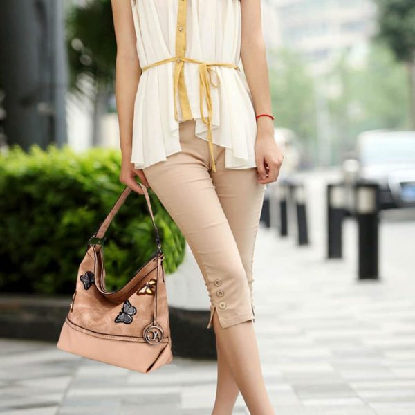 AG00556 – beige Butterfly Hobo Bag With black Metal Work_6_