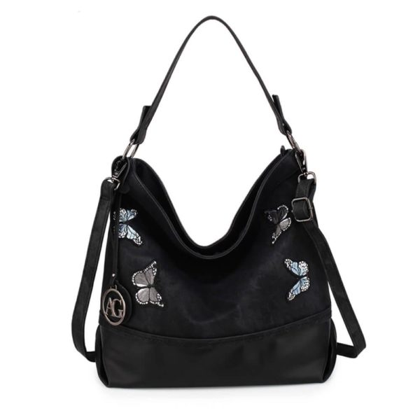AG00556 – black Butterfly Hobo Bag With black Metal Work