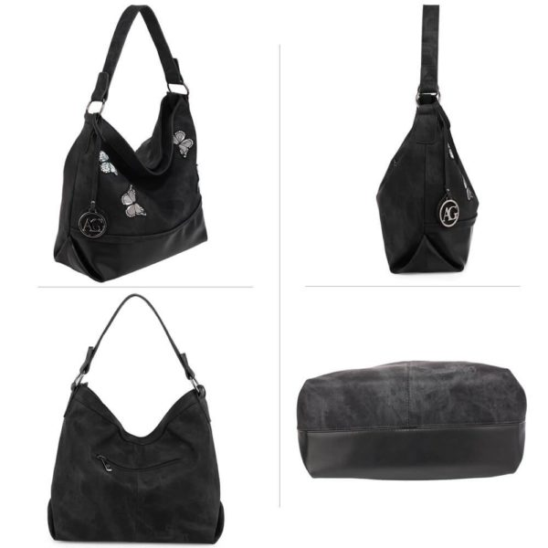 AG00556 – black Butterfly Hobo Bag With black Metal Work_3_