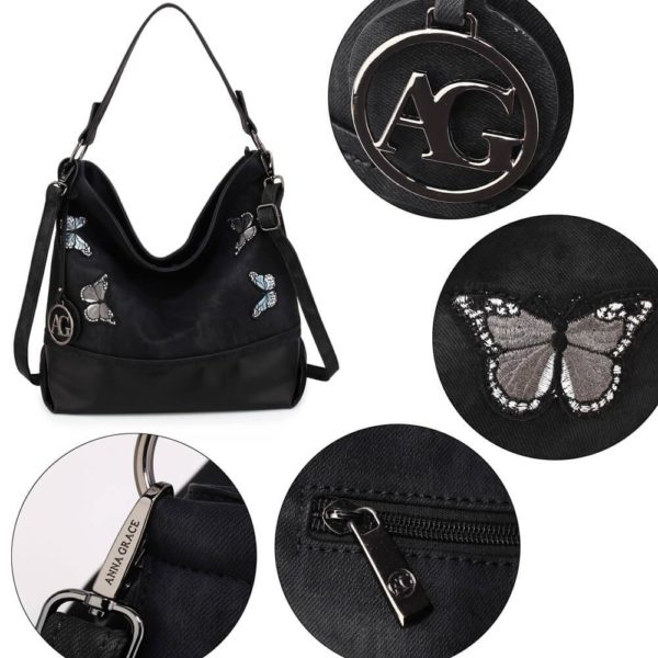 AG00556 – black Butterfly Hobo Bag With black Metal Work_5_