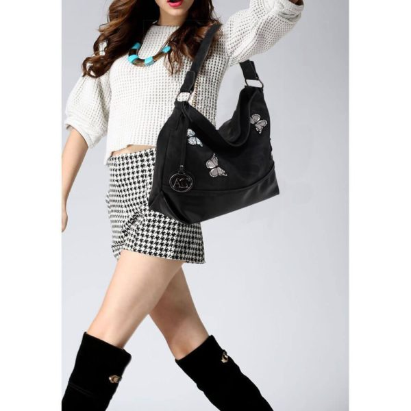 AG00556 – black Butterfly Hobo Bag With black Metal Work_6_