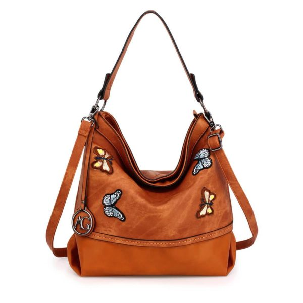 AG00556 – brown Butterfly Hobo Bag With black Metal Work_1_