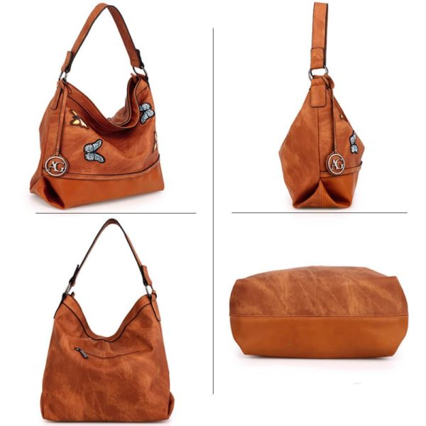 AG00556 – brown Butterfly Hobo Bag With black Metal Work_3_