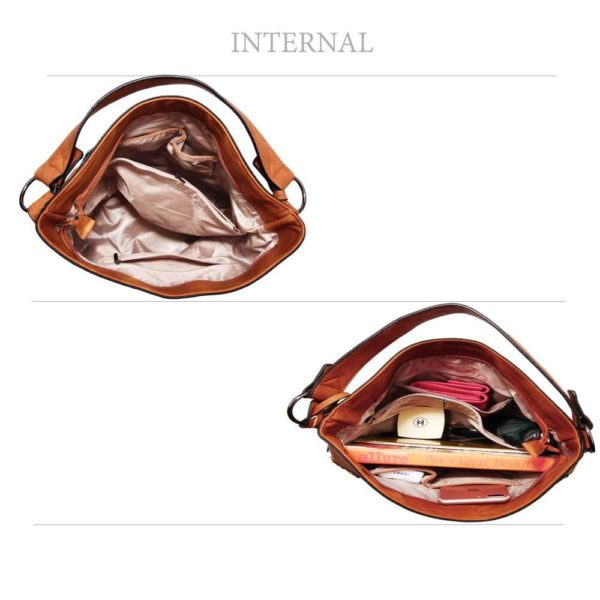 AG00556 – brown Butterfly Hobo Bag With black Metal Work_4_