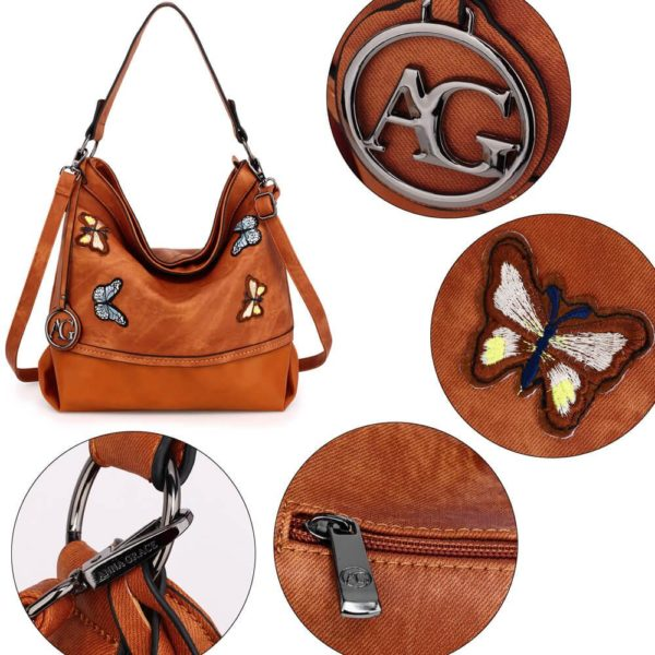 AG00556 – brown Butterfly Hobo Bag With black Metal Work_5_