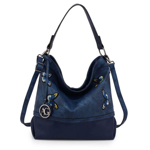AG00556 – navy Butterfly Hobo Bag With black Metal Work__1_