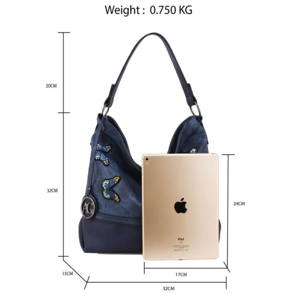 AG00556 – navy Butterfly Hobo Bag With black Metal Work__2_