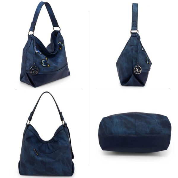 AG00556 – navy Butterfly Hobo Bag With black Metal Work__3_