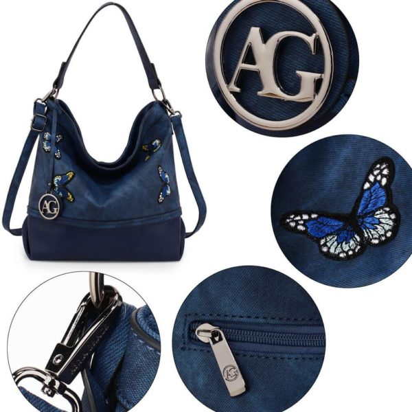AG00556 – navy Butterfly Hobo Bag With black Metal Work__5_
