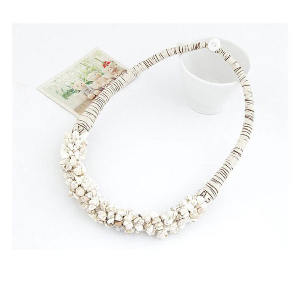 AN29 – Stone Necklace – Latest Design – White – Best Match to Summer Dress2