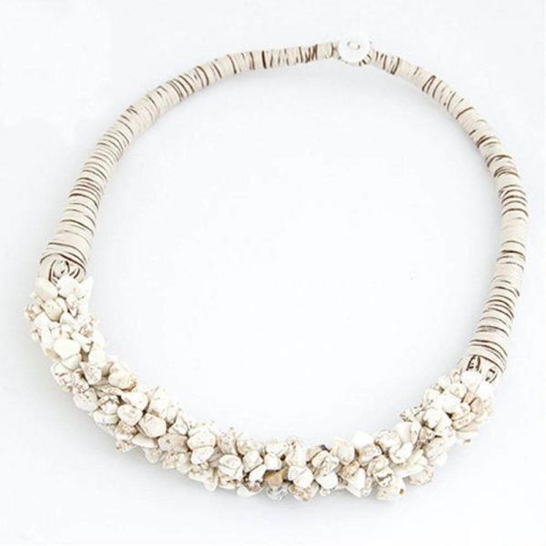 AN29Stone Necklace – Latest Design – White – Best Match to Summer Dress