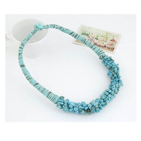 AN30 – Stone Necklace – Latest Design – Blue – Best Match to Summer Dress1