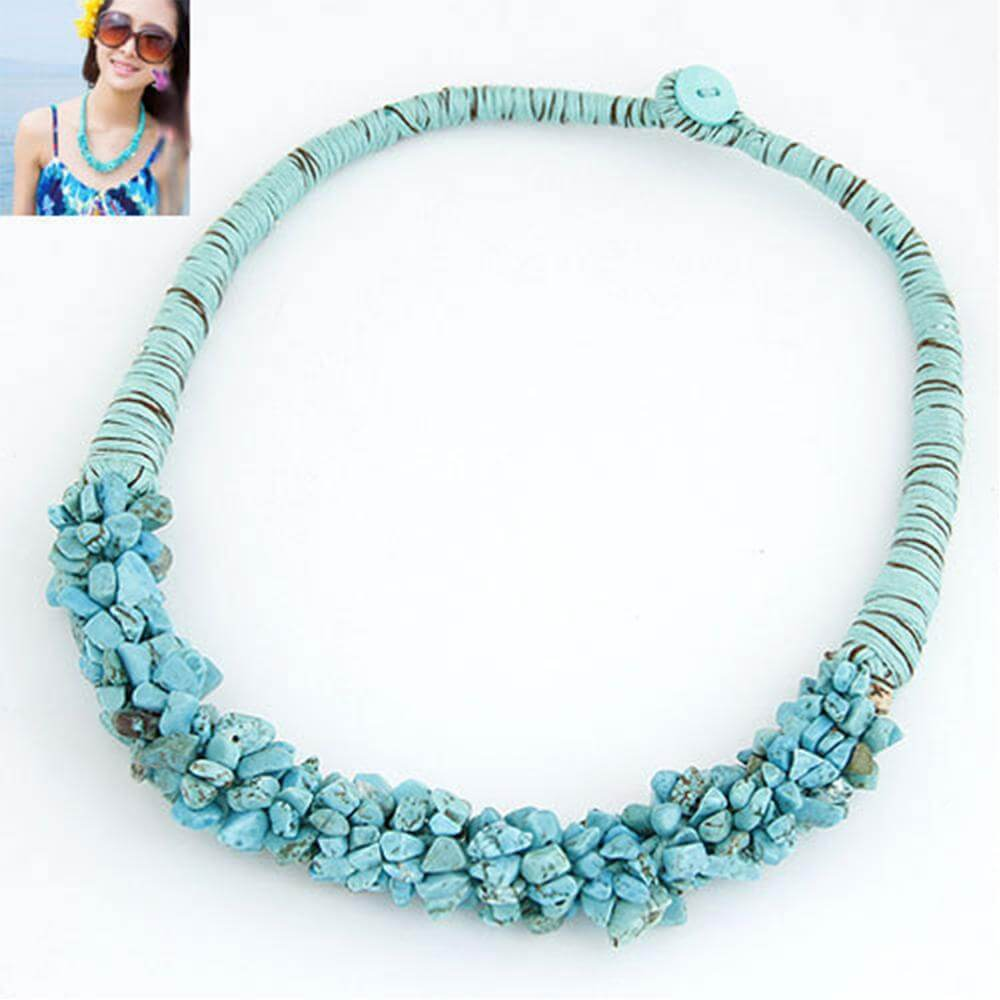 stone necklace blue best match to summer dress