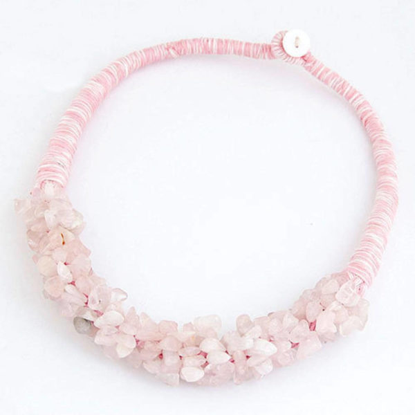 AN32Stone Necklace – Latest Design – Pink – Best Match to Summer Dress