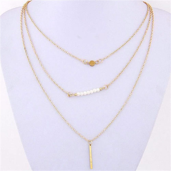 AN34 – 3 Layer Chain Necklace – Gold1