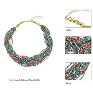 multi layer beaded necklace various color