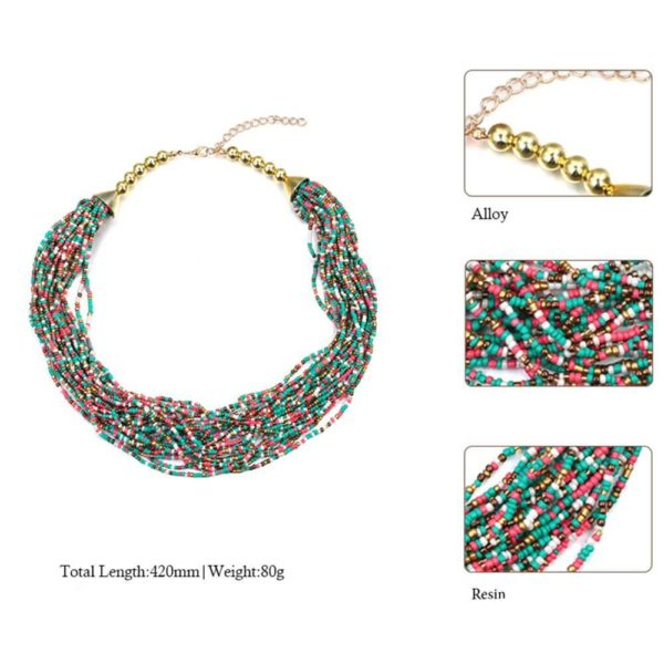 AN36 -Multi Layer Beaded Necklace – Various Color 1