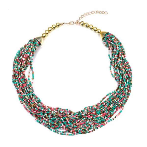AN36Multi Layer Beaded Necklace – Various Color