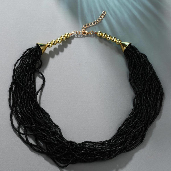 AN37 – Multi Layer Beaded Necklace – Black1