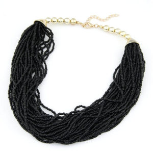 multi layer beaded necklace black